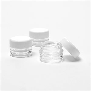 Lip Balm Pots 1 / 8 oz., Clear with White Caps (12 pack)