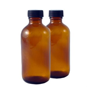 4 oz. Amber Glass Bottles with Caps (6 pack)