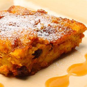 Pumpkin Bread Pudding with Caramel Rum Sauce Recipe